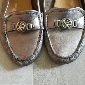 Coach Leather Pewter Fonda Driving flats